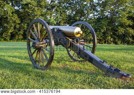 Maryland, Usa 08/05/2020: Close Up Image  Of A Civil War Era Bronze Howitzer M1841 12 Pounder Field