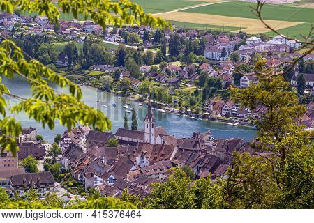 A Hilltop Aerial View Of The Scenic Historical Town Stein Am Rhein On The Banks Of Rhine River In Sw