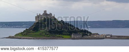 Landscape Panorama Of The Mouth's Bay Featuring St Michael's Mount In The Middle. This Is A Tidal Is