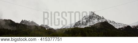 Panoramic Look At The Mont Blanc Mountain, Highest Mountain In The Alps. Image Was Captured On The F