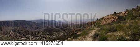 Panoramic View Of Jordan's Largest Nature Reserve Known As Dana Biosphere Reserve. This Location Has