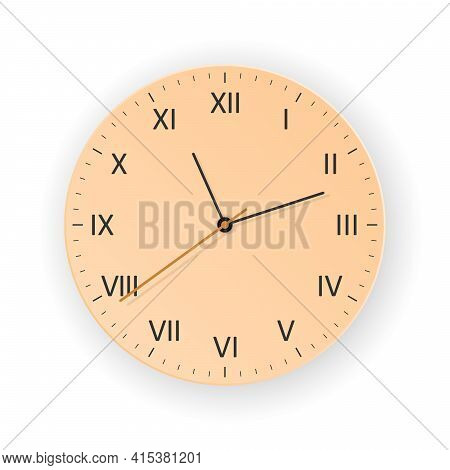 Vector Orange Clock With Light Shadow, Show What Time Is It