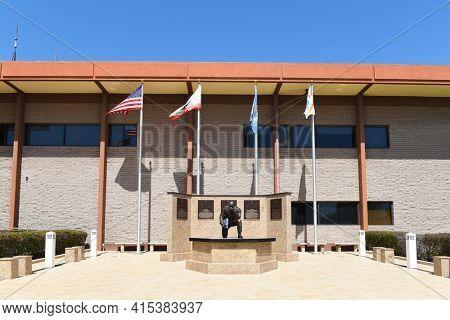 GARDEN GROVE, CALIFORNIA - 31 MAR 2021: Fallen Heroes Memorial at the Garden Grove Police Department Building.