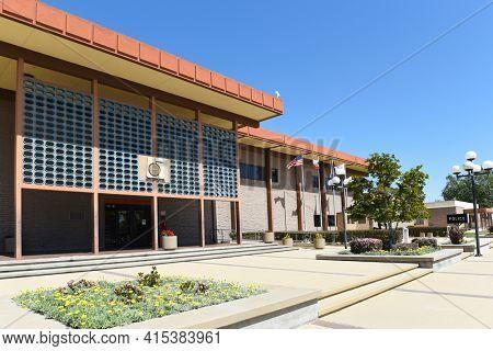 GARDEN GROVE, CALIFORNIA - 31 MAR 2021: The Garden Grove Police Department Building.