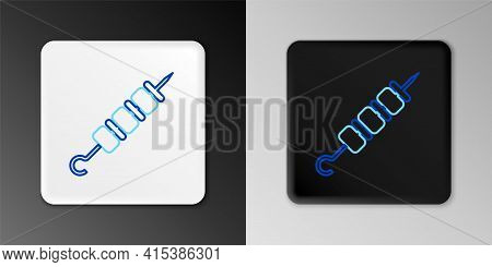 Line Grilled Shish Kebab On Skewer Stick Icon Isolated On Grey Background. Meat Kebab On Skewer Stic