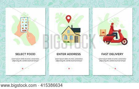 Food Ordering Online Mobile App Banner Set. Choose And Order Dishes Menu On Smartphone Screen Templa