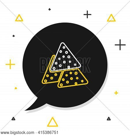 Line Nachos Icon Isolated On White Background. Tortilla Chips Or Nachos Tortillas. Traditional Mexic