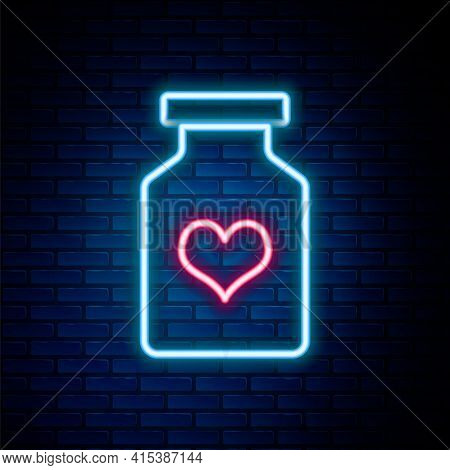 Glowing Neon Line Medicine Bottle With Pills For Potency, Aphrodisiac Icon Isolated On Brick Wall Ba