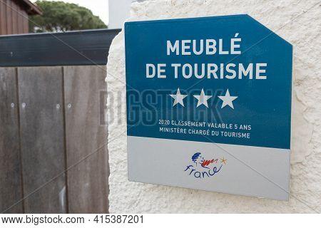 Bordeaux , Aquitaine France - 03 29 2021 : Meuble De Tourisme Three Stars 3 French Quality Tourism