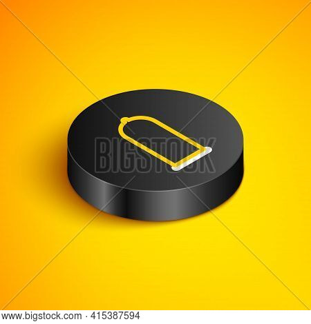 Isometric Line Condom Safe Sex Icon Isolated On Yellow Background. Safe Love Symbol. Contraceptive M