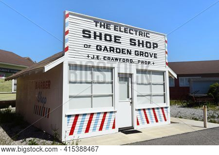 GARDEN GROVE, CALIFORNIA - 31 MAR 2021: The Electric Shoe Shop building at the Stanley Ranch Museum.