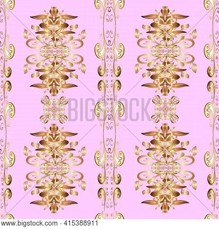 Seamless Pattern On Beige, Neutral And Brown Colors. Seamless Golden Textured Curls. Golden Elements