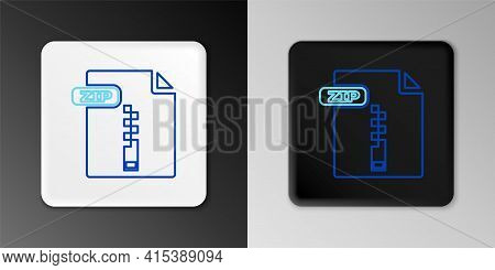 Line Zip File Document. Download Zip Button Icon Isolated On Grey Background. Zip File Symbol. Color