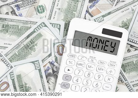 Fraud Text On A Calculator With Financial Data Paperwork On The Desk. Business And Finance Fraud Pre