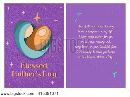Blessed Mother's Day Purple Card Printable Double Sided Template. Paper Cut Heart Shaped Mom With Ba