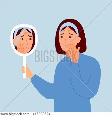 Young Woman Hand Mirror Worrying About Her Wrinkle On Face In Flat Design. Wrinkle Aging Problem On