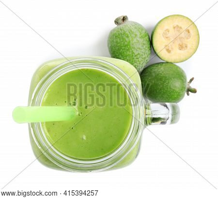 Fresh Feijoa Smoothie In Mason Jar And Fresh Fruits On White Background, Top View