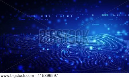 Data Technology Background. Abstract Background. Connecting Dots And Lines On Dark Background, Abstr