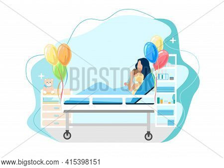 Vector Illustration Of A Happy Woman In Labor With A Newborn Baby Lies In A Hospital Room Decorated