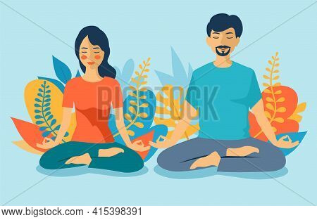 Young Man And Woman Couple Meditating In Lotus Pose. Man And Woman On White Background Meditating Pe