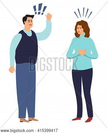 Aggressive Screaming Characters. Destructive Emotions. Family Quarrel, Woman Man Bad Behavior. Husba