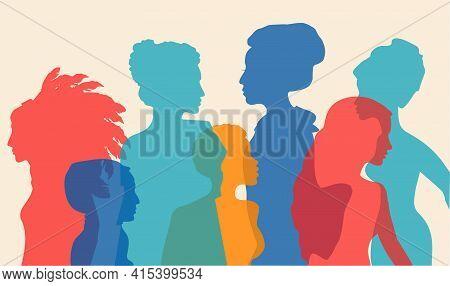 Multi-ethnic Women Silhouette. Different Ethnicity Women African, Asian, Chinese, European, Arab. Ra