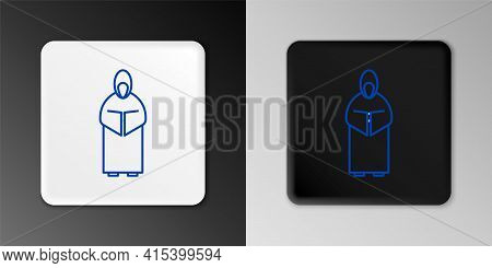 Line Monk Icon Isolated On Grey Background. Colorful Outline Concept. Vector
