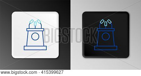 Line Stage Stand Or Debate Podium Rostrum Icon Isolated On Grey Background. Conference Speech Tribun