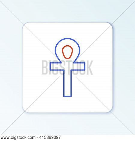 Line Cross Ankh Icon Isolated On White Background. Colorful Outline Concept. Vector