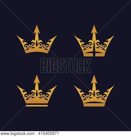 A Set Of Golden Royal Crowns. Illustration Of A Set Of Golden Royal Crowns On A Navy Blue Background