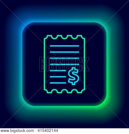 Glowing Neon Line Paper Check And Financial Check Icon Isolated On Black Background. Paper Print Che