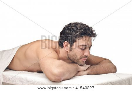 Man lying on a massage table