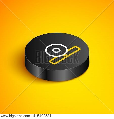 Isometric Line Otolaryngological Head Reflector Icon Isolated On Yellow Background. Equipment For In