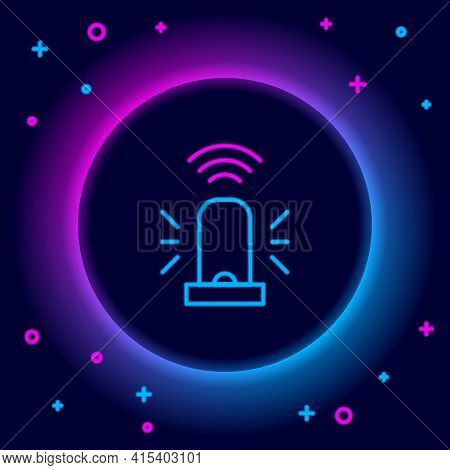 Glowing Neon Line Smart Flasher Siren System Icon Isolated On Black Background. Emergency Flashing S