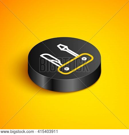 Isometric Line Swiss Army Knife Icon Isolated On Yellow Background. Multi-tool, Multipurpose Penknif