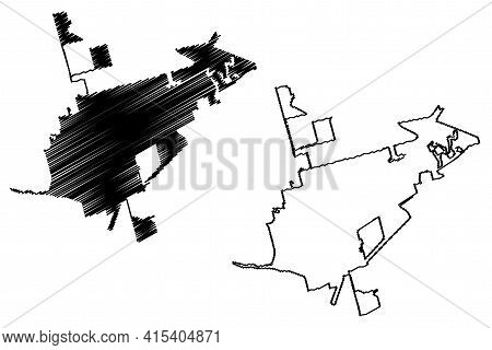Odessa City, Texas (united States Cities, United States Of America, Usa City) Map Vector Illustratio