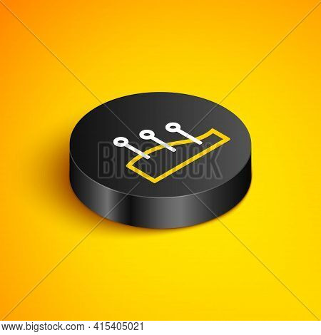 Isometric Line Acupuncture Therapy Icon Isolated On Yellow Background. Chinese Medicine. Holistic Pa