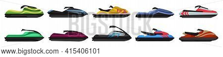 Jet Ski Vector Cartoon Set Icon. Vector Illustration Scooter On White Background. Isolated Cartoon S