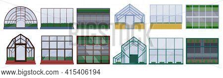 Greenhouse Vector Illustration On White Background. Isolated Cartoon Set Icon Glasshouse. Vector Car