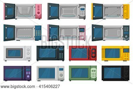 Microwave Vector Cartoon Set Icon.isolated Cartoon Set Icon Microwave. Vector Illustration Oven On W