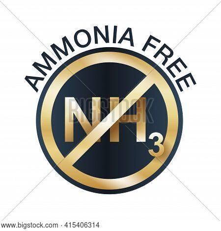 Ammonia Free Golden Icon - For Non-ammonia Hair Dye Coloring. Vector Emblem