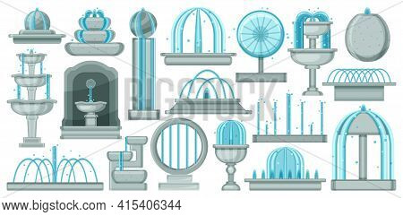 Fountain Isolated Cartoon Set Icon. Vector Illustration Waterfall On White Background. Vector Cartoo