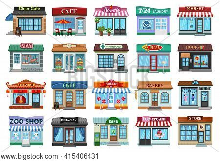 Facade Store Vector Cartoon Set Icon. Vector Illustration Storefront On White Background. Isolated C
