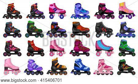 Skate Roller Vector Cartoon Set Icon. Vector Illustration Rollerskate On White Background. Isolated