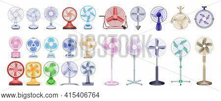Fan Vector Realistic Set Icon. Vector Illustration Ventilator On White Background. Isolated Realisti