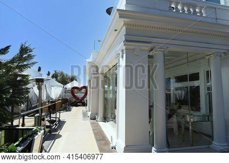 ANAHEIM, CALIFORNIA - 31 MAR 2021: The White House Italian Steak House, by Philanthropist  and Celebrity Chef Sir Bruno Serato.