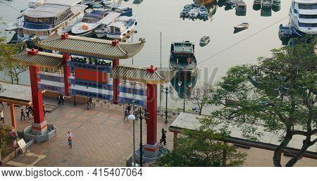Lei Yue Mun, Hong Kong 16 February 2021: Hong Kong typhoon shelter pier