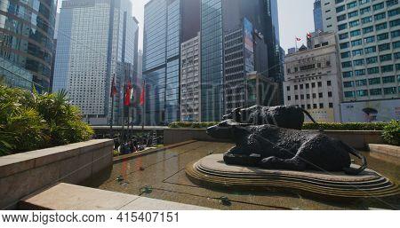 Central, Hong Kong 27 January 2021: Two buffalo statues, Exchange Square at Hong Kong Island