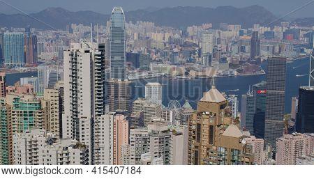 Victoria Peak, Hong Kong 05 February 2021: Hong Kong city skyline