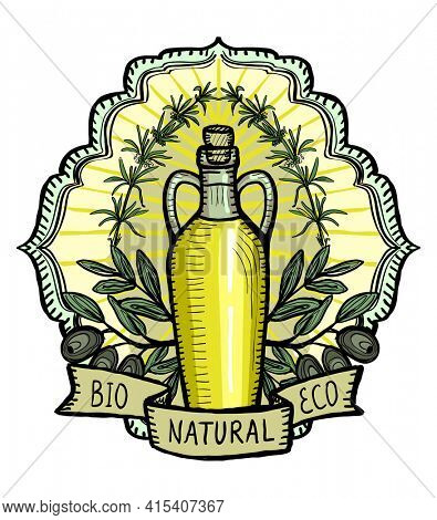Olive oil logotype, hand drawn emblem illustration with bottle of olive oil, olives bunch, rosemary and ribbon, old style graphic sign, rasterized version